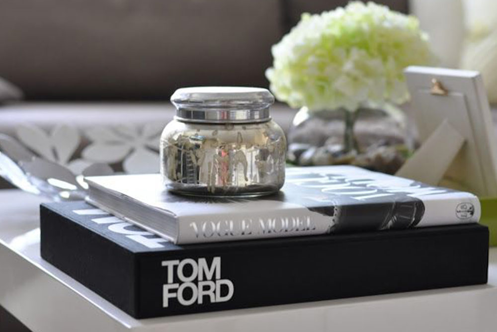 Books on coffee table styling