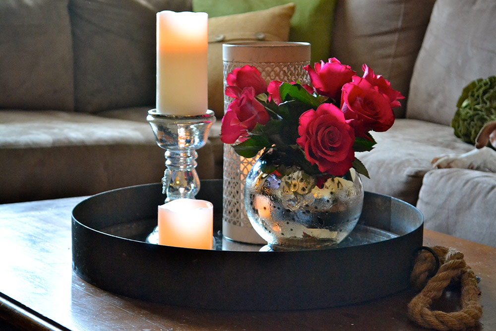 Fresh flowers on coffee table